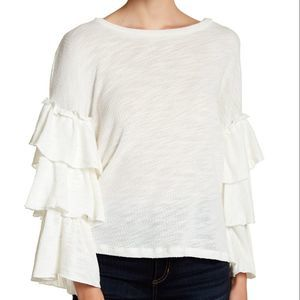 Ro & De White Tiered Knit Bell Sleeve Blouse S